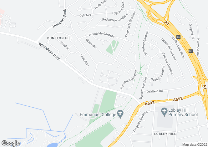 Map for Finchale Close, Lobley Hill, Lobley Hill, Tyne & Wear
