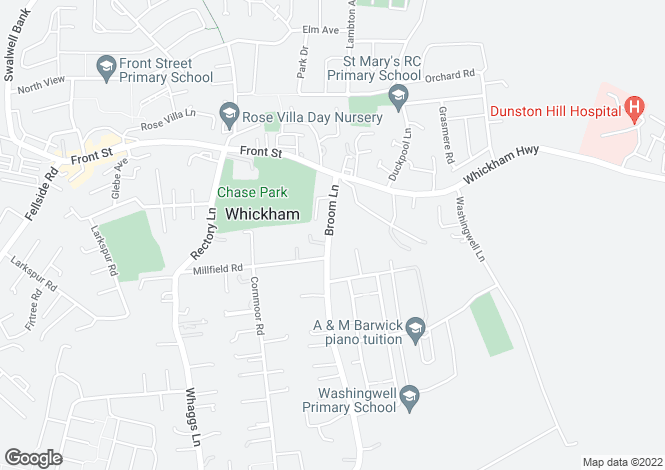 Map for Broom Lane, Whickham, Newcastle Upon Tyne, NE16