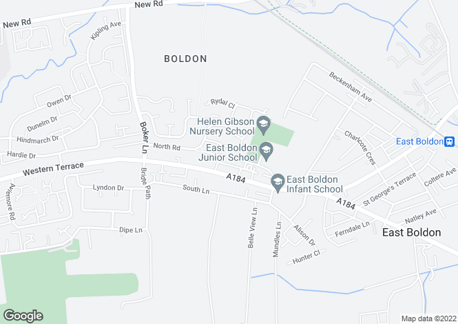 Map for North Road, East Boldon