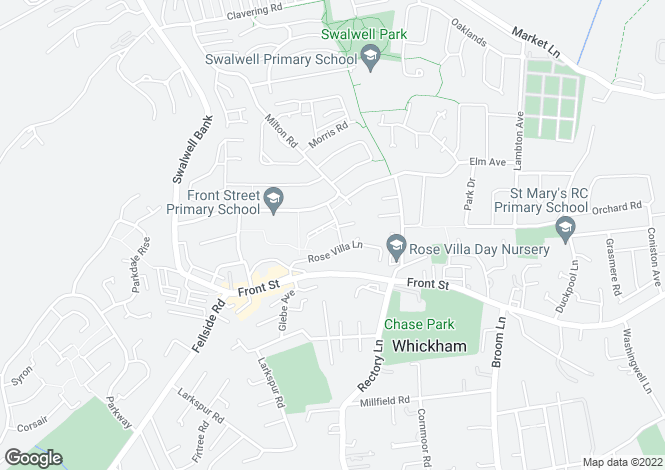 Map for Otterburn Gardens, Whickham, NEWCASTLE UPON TYNE, Tyne and Wear