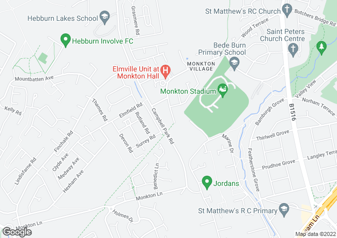 Map for Monkton Lane, Monkton Village, Jarrow NE32