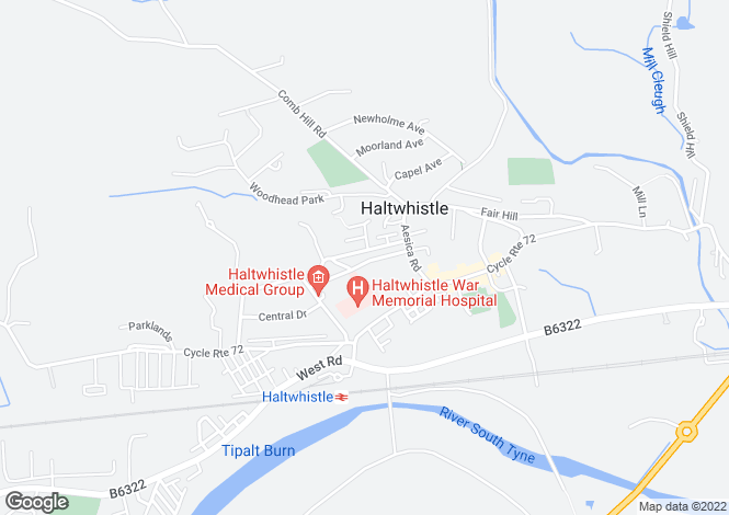 Map for Banks Terrace, Haltwhistle,