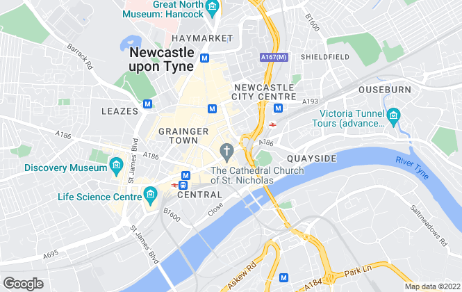 Map for Sanderson Weatherall LLP, Newcastle Upon Tyne