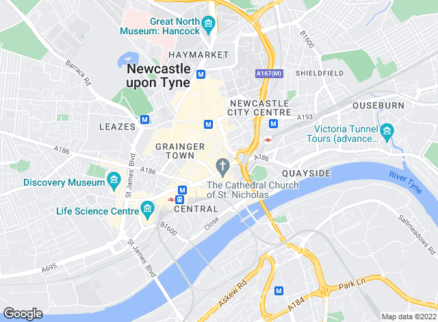 Map for Livingspaces, Newcastle Upon Tyne
