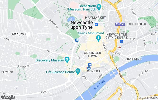 Map for Nicholas Humphreys, Newcastle Upon Tyne