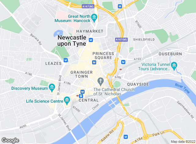 Map for Bridgfords, Newcastle upon Tyne