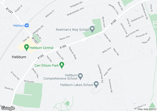 Map for Sullivan Walk, Hebburn, NE31