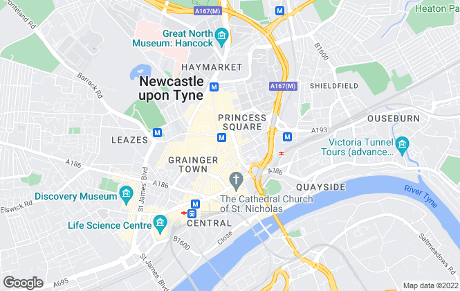 Map for Bradley Hall Chartered Surveyors & Estate Agents, Newcastle upon Tyne - Commercial