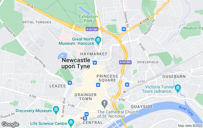 Map for Pattinson Estate Agents, Newcastle