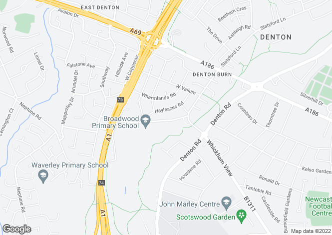 Map for Broadwood Road, Denton Burn, Newcastle Upon Tyne NE15