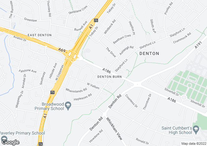 Map for West Road, Denton Burn, Newcastle upon Tyne, Tyne and Wear