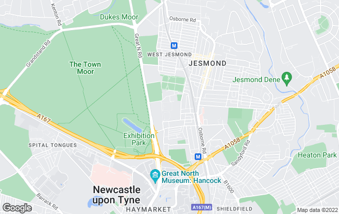 Map for Jesmond Student Accommodation, Newcastle