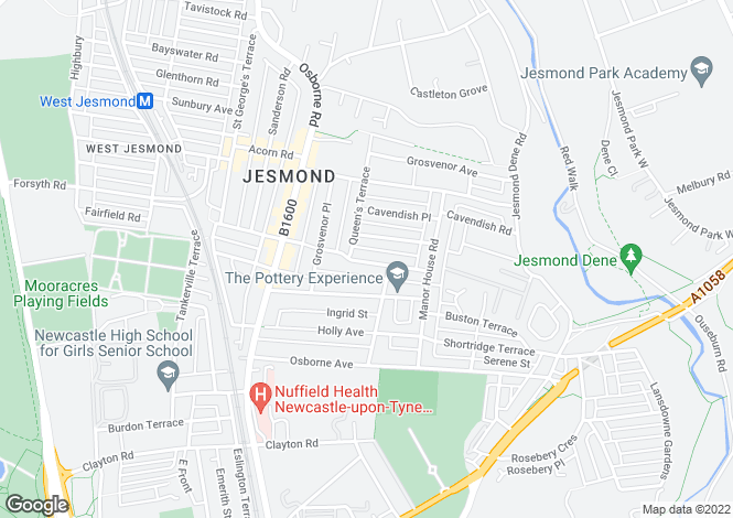 Map for Queens Road, Jesmond, Newcastle Upon Tyne