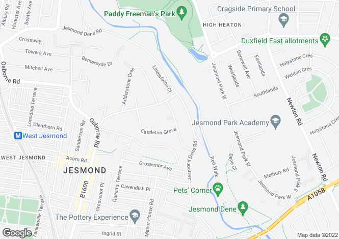 Map for Glastonbury Grove, Jesmond, Newcastle Upon Tyne, Tyne and Wear