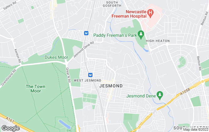 Map for Bridgfords Lettings, Jesmond