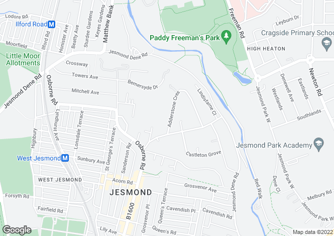 Map for Adderstone Crescent, Jesmond, Newcastle Upon Tyne