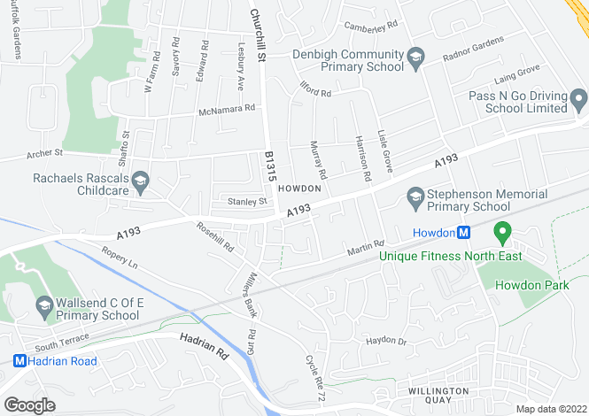Map for 28 Tynemouth Road, Howdon,  Wallsend