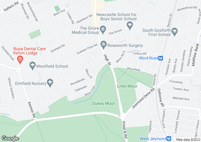 Map for Moor Crescent, Gosforth, Newcastle upon Tyne