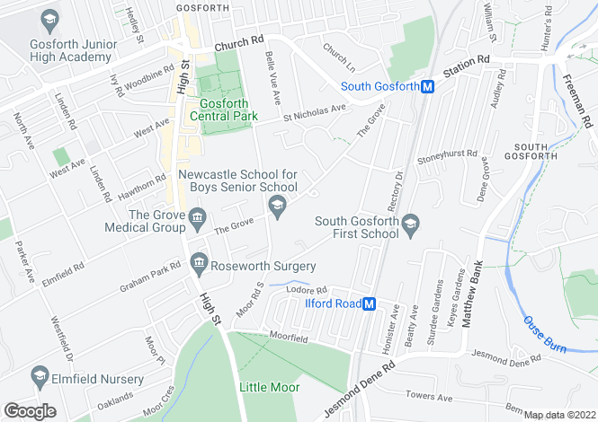 Map for Fairfields, The Grove, Gosforth