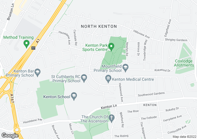 Map for Kirkwood Drive, Kenton, Newcastle Upon Tyne NE3