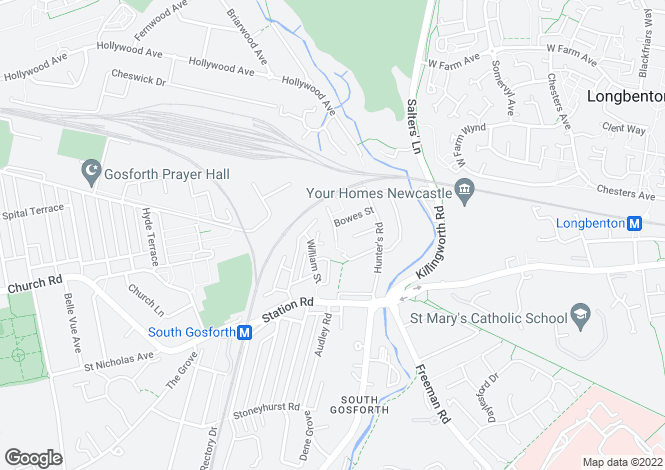 Map for Bowes Court, South Gosforth, Newcastle Upon Tyne NE3