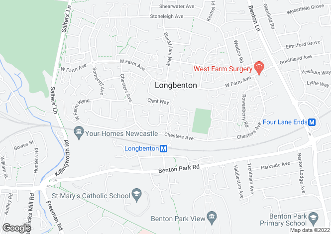 Map for Rosebury Drive, Newcastle upon Tyne