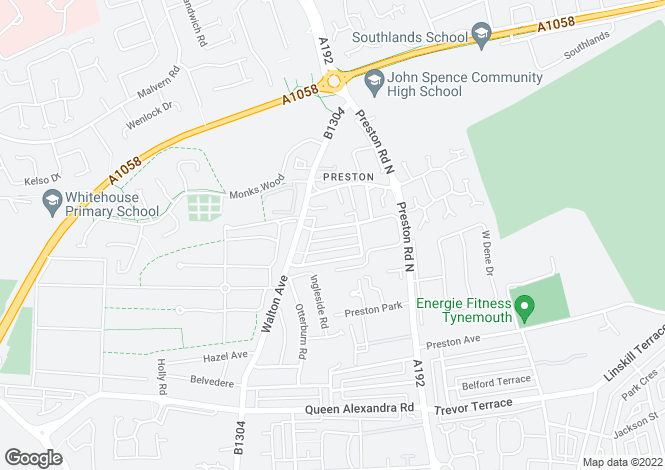 Map for Rosebery Avenue, Preston Village, Tyne & Wear, NE29