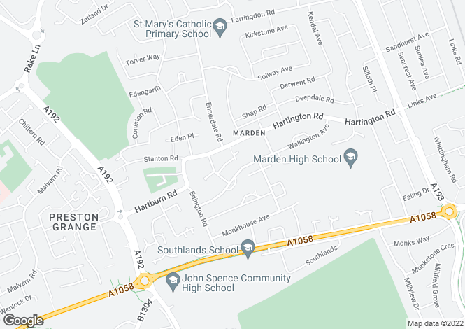 Map for Bolam Grove, Marden EState