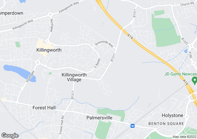 Map for Killingworth, Newcastle Upon Tyne