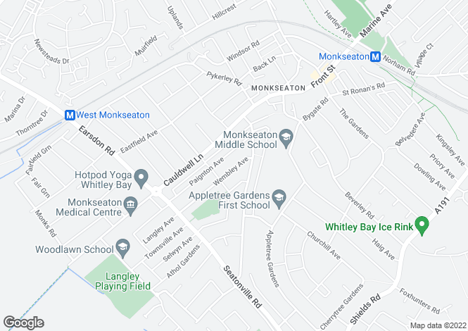 Map for Wembley Avenue, Monkseaton, Whitley Bay, NE25