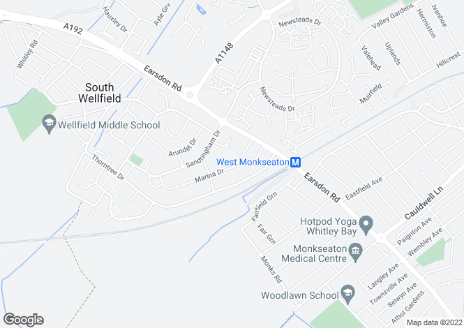 Map for Marina Drive, West Monkseaton, Tyne And Wear, NE25