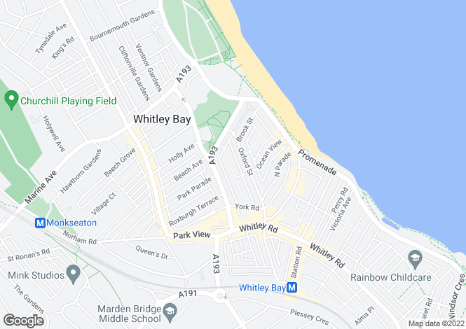 Map for Cambridge Avenue, Whitley Bay, Tyne And Wear, NE26