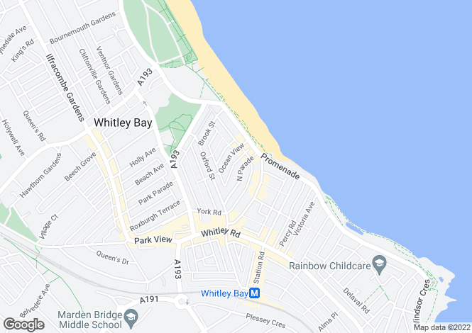 Map for North Parade, Whitley Bay, Tyne & Wear, NE26