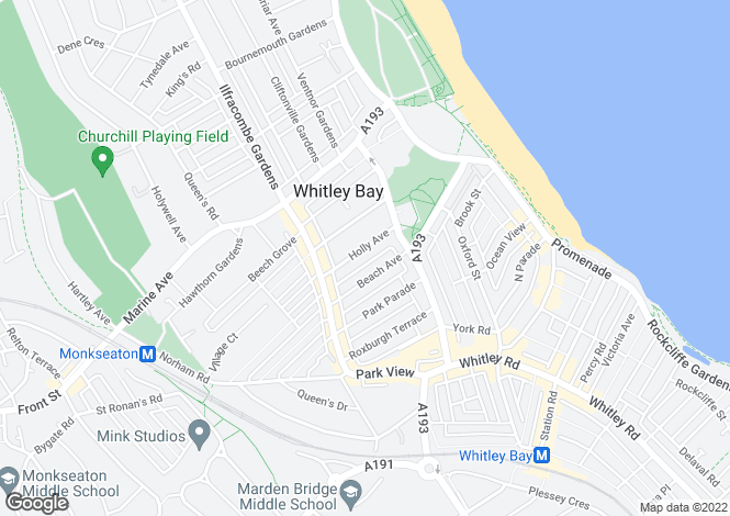 Map for Holly Avenue, Whitley Bay, Tyne & Wear, NE26