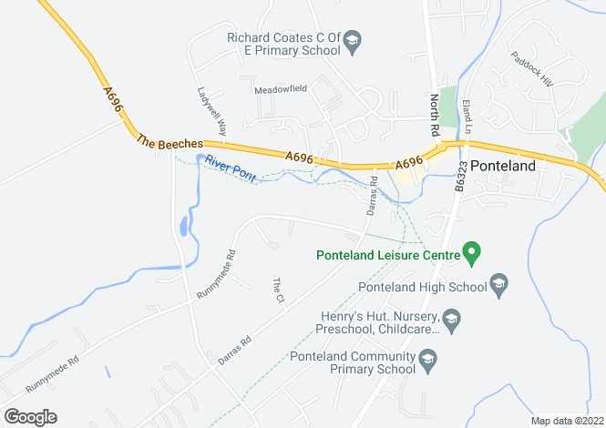 Map for Runnymede Road, Darras Hall, Ponteland, NEWCASTLE UPON TYNE, Northumberland