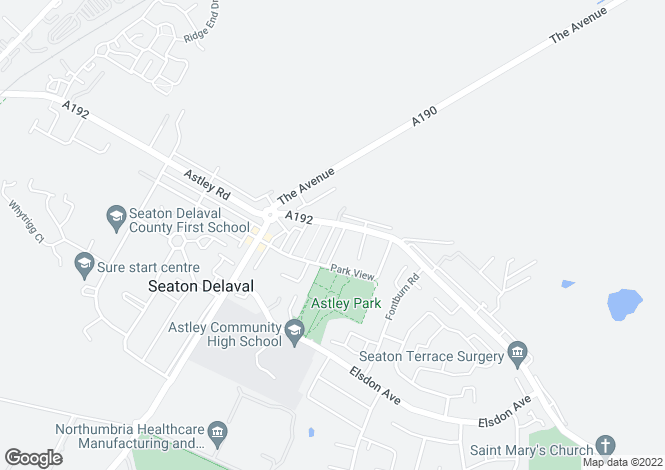 Map for Queens Court, Seaton Delaval