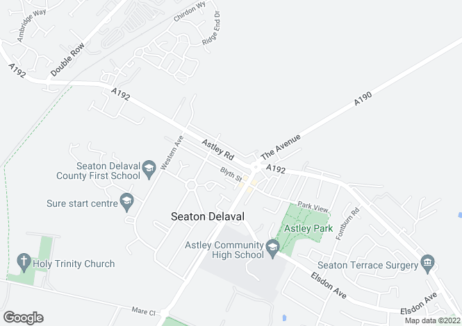 Map for Astley Road, Seaton Delaval, Seaton Delaval, Tyne And Wear, NE25
