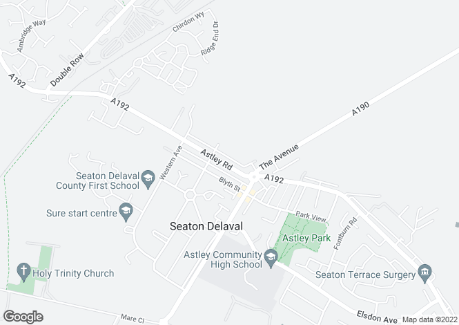 Map for Astley Road, Seaton Deleval, Tyne And Wear