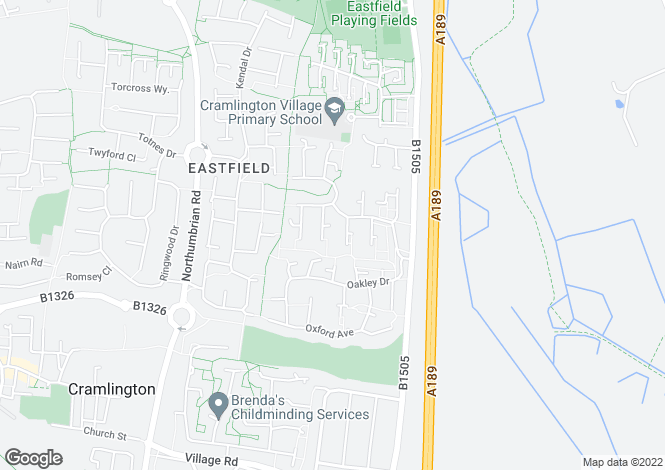 Map for Hertford Grove, Cramlington NE23