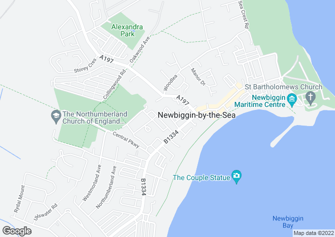 Map for Simonside Terrace, Newbiggin-By-The-Sea
