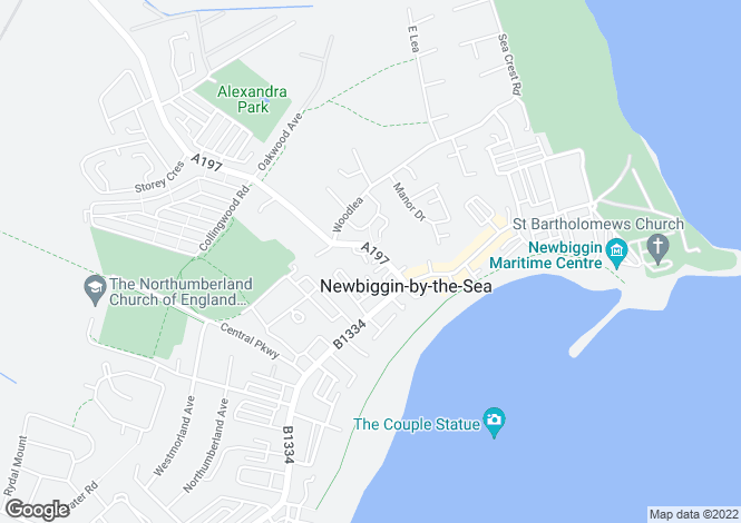 Map for West View, Newbiggin By The Sea, Northumberland