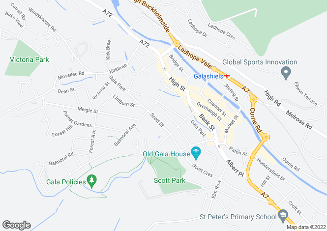 Map for 86 St. Andrew Street, GALASHIELS, TD1 1DY