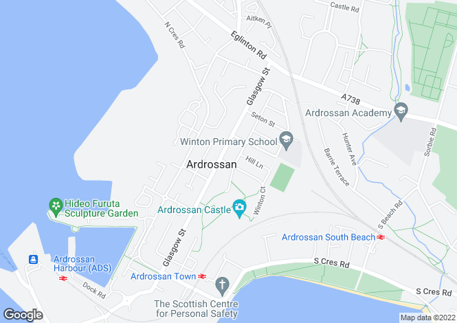 Map for Hill Place, Ardrossan