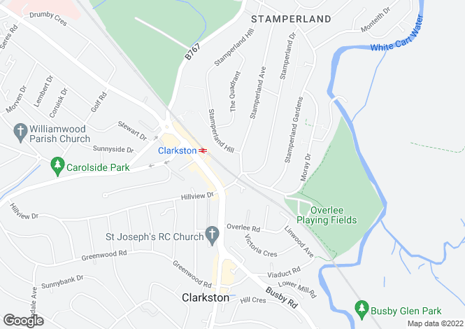 Map for 9 Stamperland Avenue, Clarkston, G76 8EU