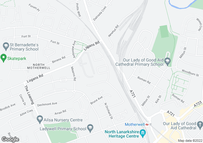 Map for Grainger Way, Motherwell, ML1