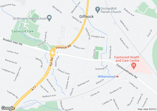 Map for 5A Eastwoodmains Road, Giffnock, G46 6QB