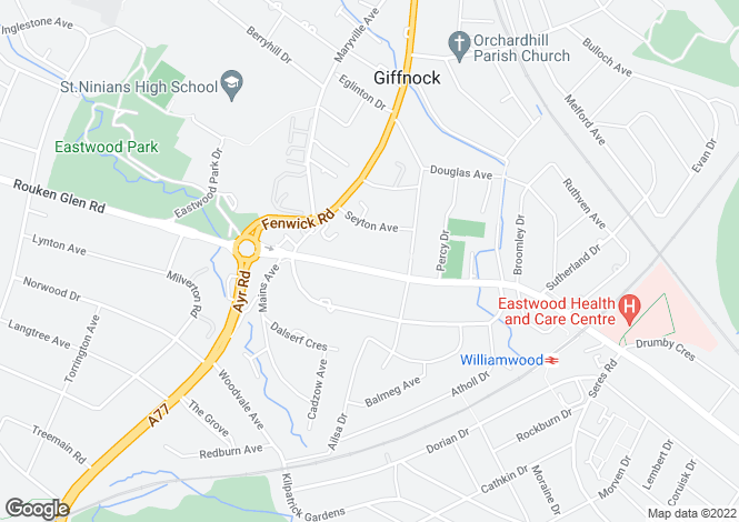 Map for 'Loanhead', 5 Eastwoodmains Road, Giffnock, G46 6QB
