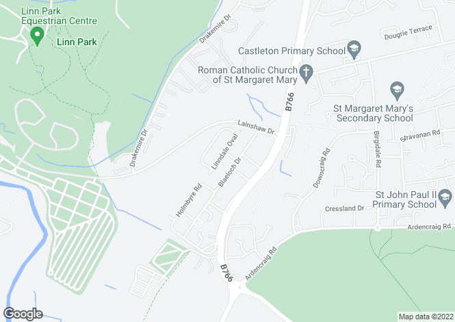 Map for Linndale Way, Castlemilk, Glasgow