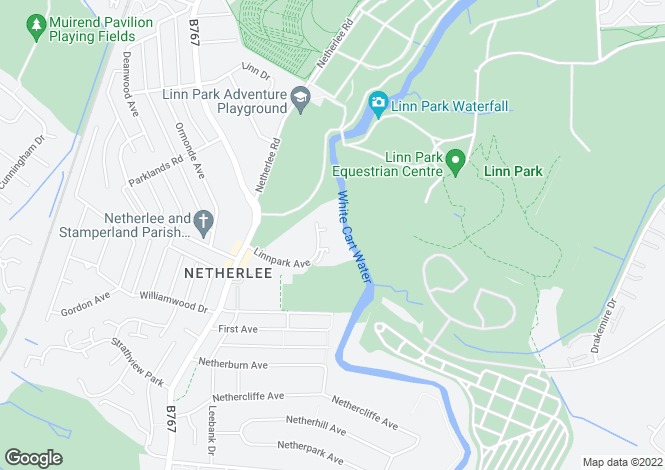 Map for Riverside Park, Netherlee, Glasgow