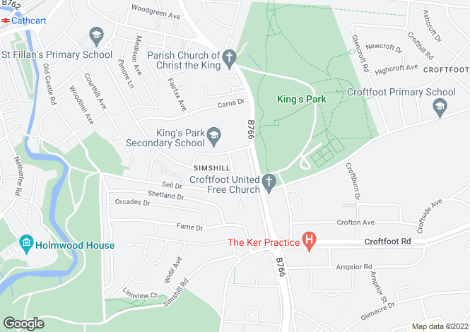 Map for Tanera Avenue, Simshill, Glasgow